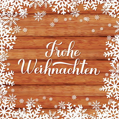 Frohe Weihnachten calligraphy hand lettering on wood background with snowflakes. Merry Christmas typography poster in German. Vector template for greeting card, banner, flyer, sticker, etc.