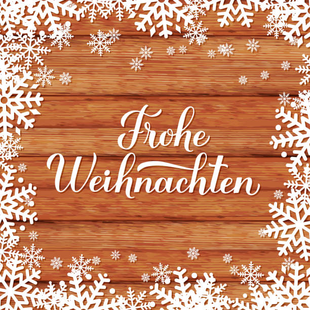 Frohe Weihnachten calligraphy hand lettering on wood background with snowflakes. Merry Christmas typography poster in German. Vector template for greeting card, banner, flyer, sticker, etc. Frohe Weihnachten calligraphy hand lettering on wood background with snowflakes. Merry Christmas typography poster in German. Vector template for greeting card, banner, flyer, sticker, etc. weihnachten stock illustrations