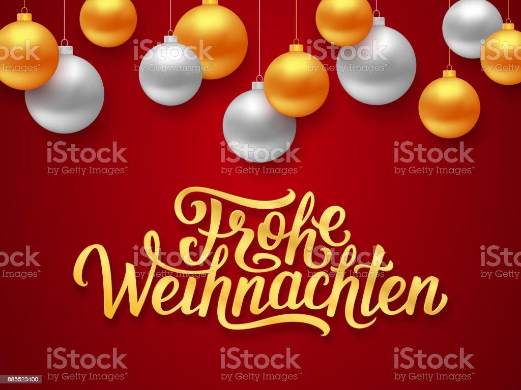 Frohe weihnachten deutsch merry christmas seasons greetings text on frohe weihnachten deutsch merry christmas seasons greetings text on red background with gold and silver hanging m4hsunfo