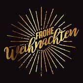 Frohe Weihnachten German Gold Foil Sunburst