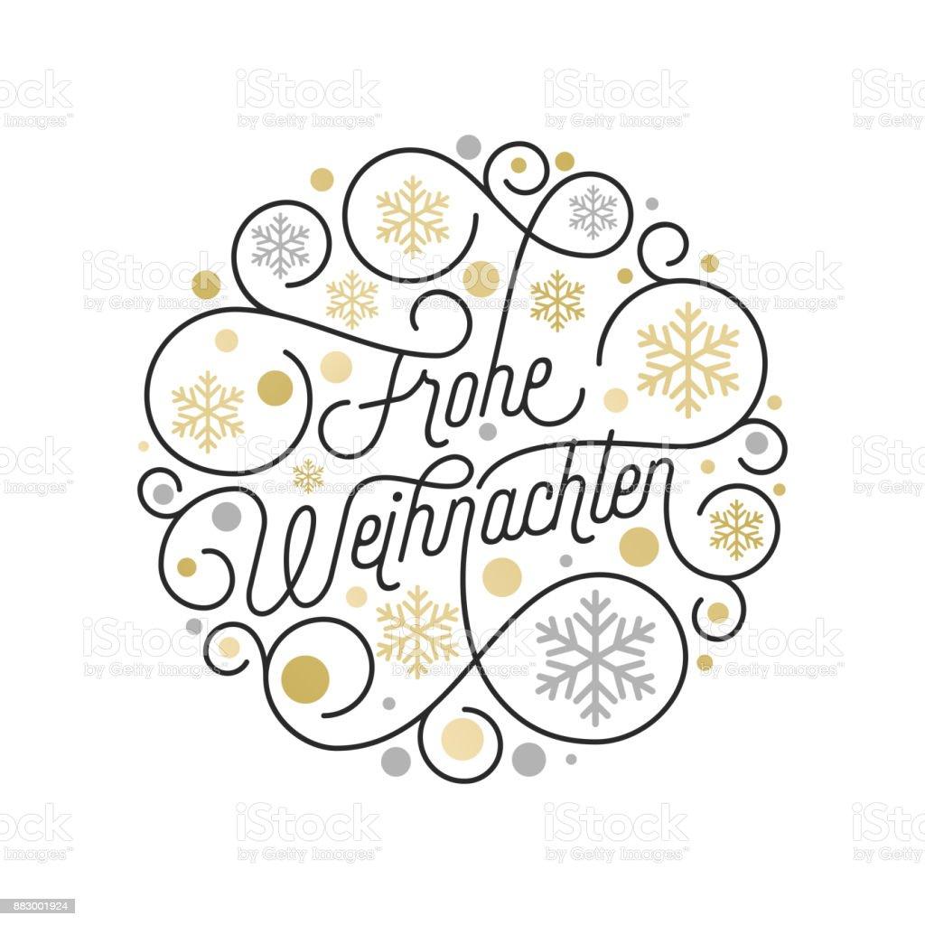 Frohe Weihnachten Немецкий Рождество каллиграфии надписи и золотой узор снежинки на белом фоне для дизайна поздравительных открыток. Вектор золот� - Векторная графика Ёлочные игрушки роялти-фри