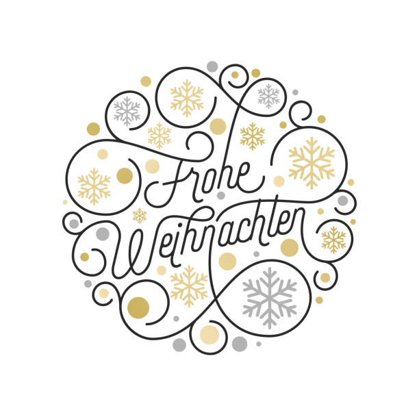 Frohe Weihnachten German Merry Christmas calligraphy lettering and golden snowflake pattern on white background for greeting card design. Vector golden Christmas flourish swash holiday text decoration Frohe Weihnachten German Merry Christmas calligraphy lettering and golden snowflake pattern on white background for greeting card design. Vector golden Christmas flourish swash holiday text decoration weihnachten stock illustrations