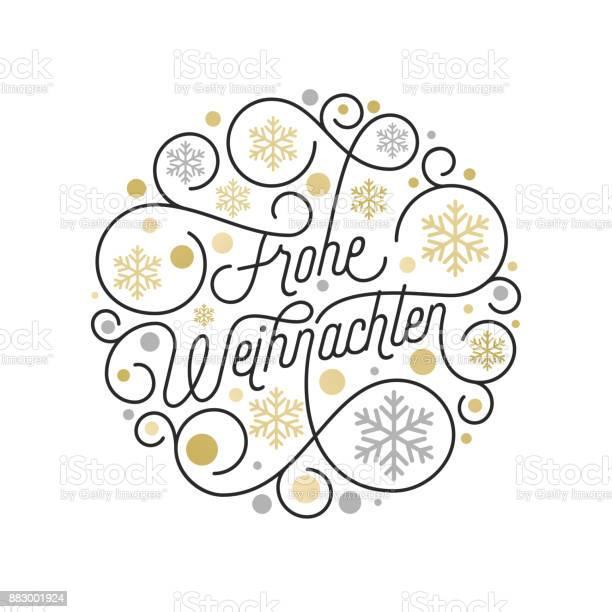 Frohe Weihnachten Немецкий Рождество Каллиграфии Надписи И Золотой Узор Снежинки На Белом Фоне Для Дизайна Поздравительных Открыток Вектор Золот — стоковая векторная графика и другие изображения на тему Ёлочные игрушки