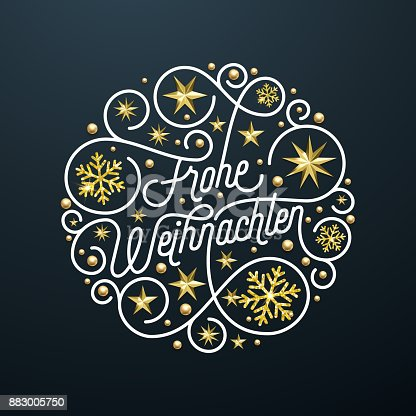 istock Frohe Weihnachten German Merry Christmas calligraphy lettering and golden snowflake star pattern decoration on white background for greeting card. Vector golden sparkling Christmas holiday text 883005750