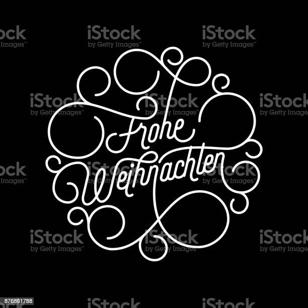 Frohe Weihnachten German Merry Christmas Flourish Calligraphy Lettering Of Swash Line Typography For Greeting Card Design Vector Festive Ornamental Quote Christmas Holiday Text Outline Swirl Pattern — стоковая векторная графика и другие изображения на тему Ёлочные игрушки