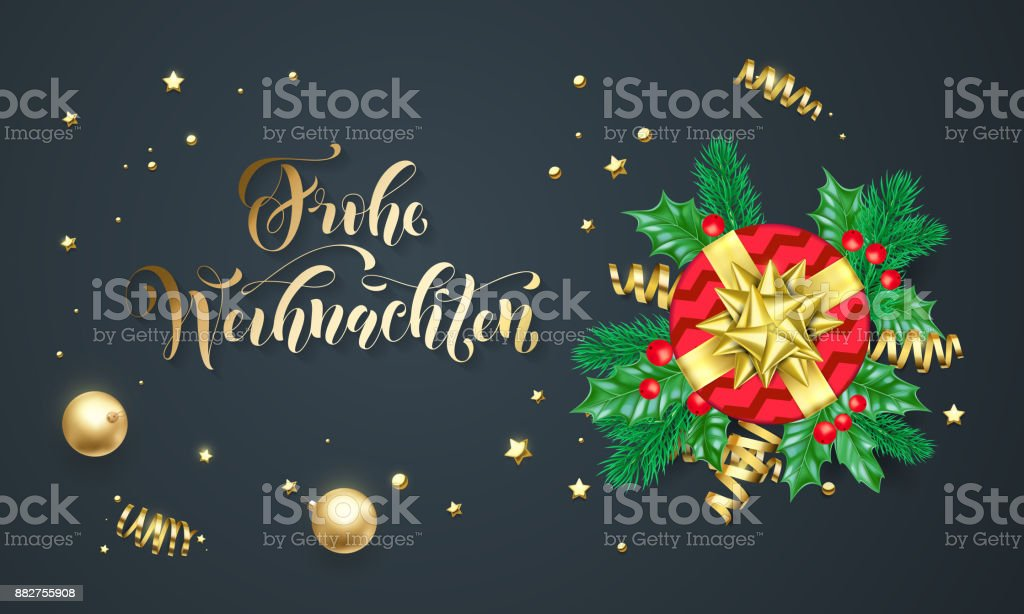 Frohe weihnachten german merry christmas golden calligraphy and gold frohe weihnachten german merry christmas golden calligraphy and gold decoration greeting card design vector christmas m4hsunfo