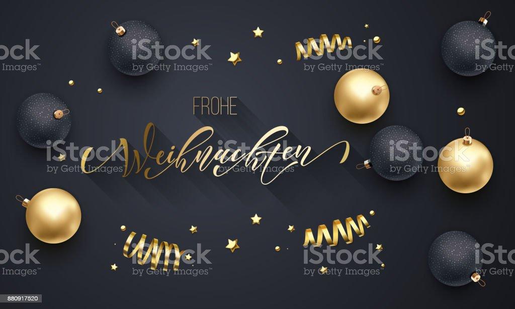 Frohe Weihnachten Almanca Merry Christmas altın dekorasyon, tebrik kartı siyah arka plan için elle çizilmiş altın hat yazı tipi. Vektör Noel, yeni yıl altın yıldız parlak konfeti tatil dekorasyon - Royalty-free Almanca Vector Art