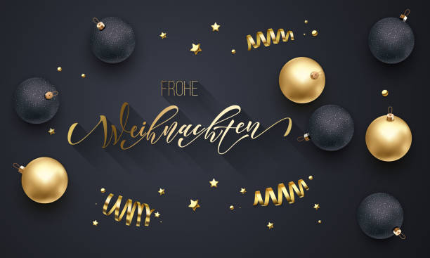 frohe weihnachten german merry christmas golden decoration, hand drawn gold calligraphy font for greeting card black background. vector christmas, new year gold star shiny confetti holiday decoration - weihnachten stock illustrations