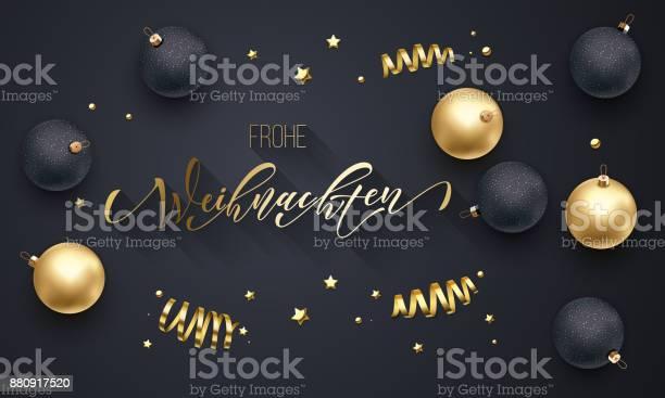 Frohe Weihnachten Almanca Merry Christmas Altın Dekorasyon Tebrik Kartı Siyah Arka Plan Için Elle Çizilmiş Altın Hat Yazı Tipi Vektör Noel Yeni Yıl Altın Yıldız Parlak Konfeti Tatil Dekorasyon Stok Vektör Sanatı & Almanca'nin Daha Fazla Görseli