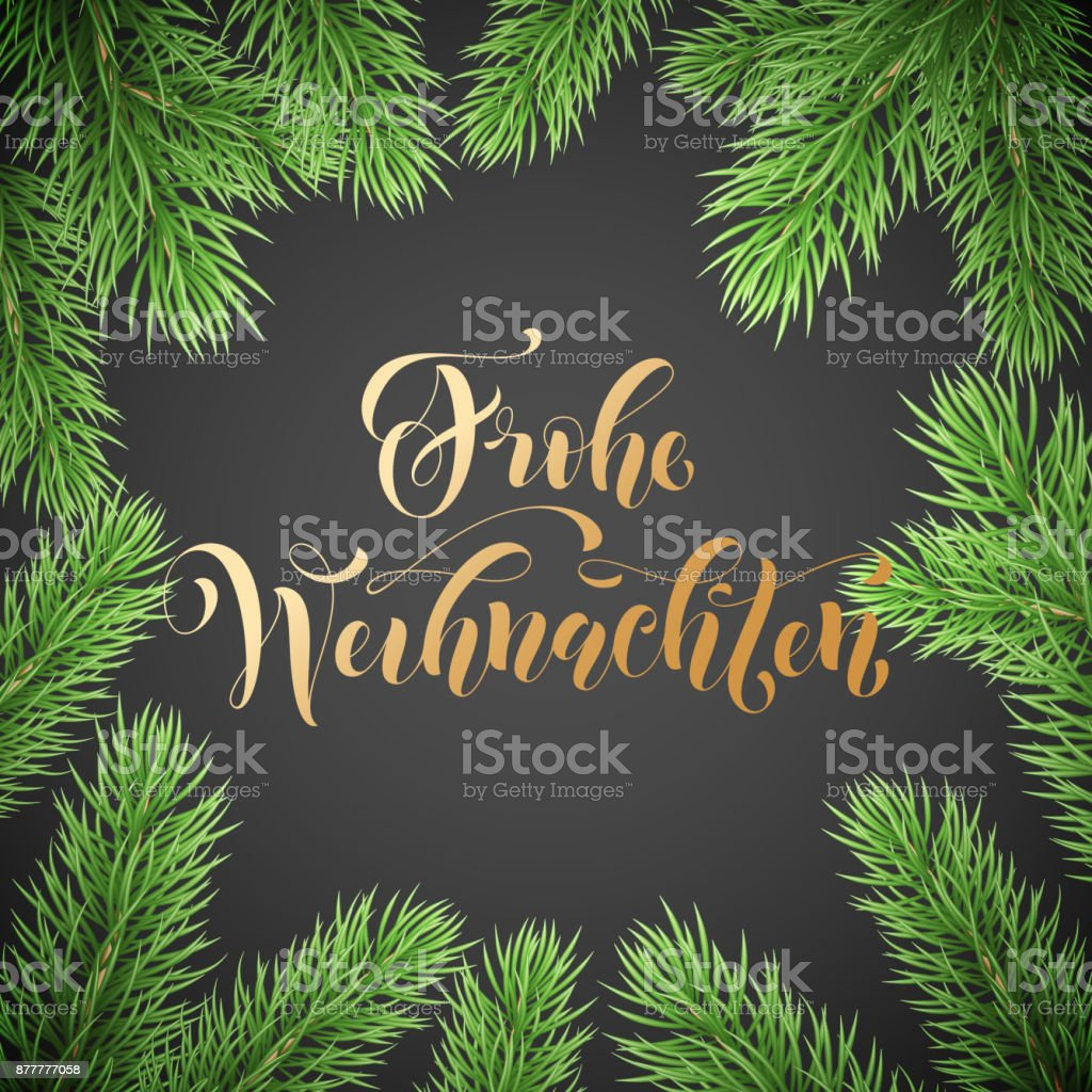 Frohe Weihnachten German Merry Christmas holiday golden hand drawn calligraphy text for greeting card of wreath decoration and Christmas garland frame. Vector winter season goldent font and background - Векторная графика Pinaceae роялти-фри