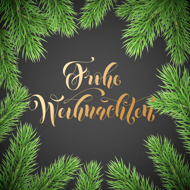 frohe weihnachten german merry christmas holiday golden hand drawn calligraphy text for greeting card of wreath decoration and christmas garland frame. vector winter season goldent font and background - weihnachten stock illustrations