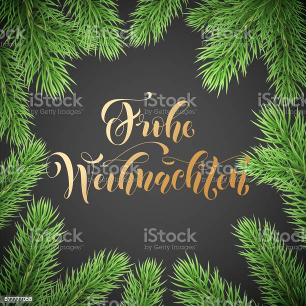 Frohe Weihnachten German Merry Christmas Holiday Golden Hand Drawn Calligraphy Text For Greeting Card Of Wreath Decoration And Christmas Garland Frame Vector Winter Season Goldent Font And Background — стоковая векторная графика и другие изображения на тему Pinaceae