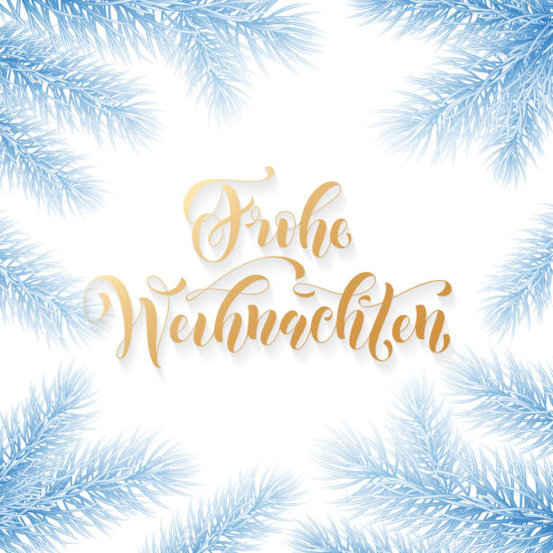 Frohe Weihnachten German Merry Christmas holiday golden hand drawn calligraphy text for greeting card of Christmas fir branch garland frame. Vector winter season goldent font on blue frozen background Frohe Weihnachten German Merry Christmas holiday golden hand drawn calligraphy text for greeting card of Christmas fir branch garland frame. Vector winter season goldent font on blue frozen background weihnachten stock illustrations