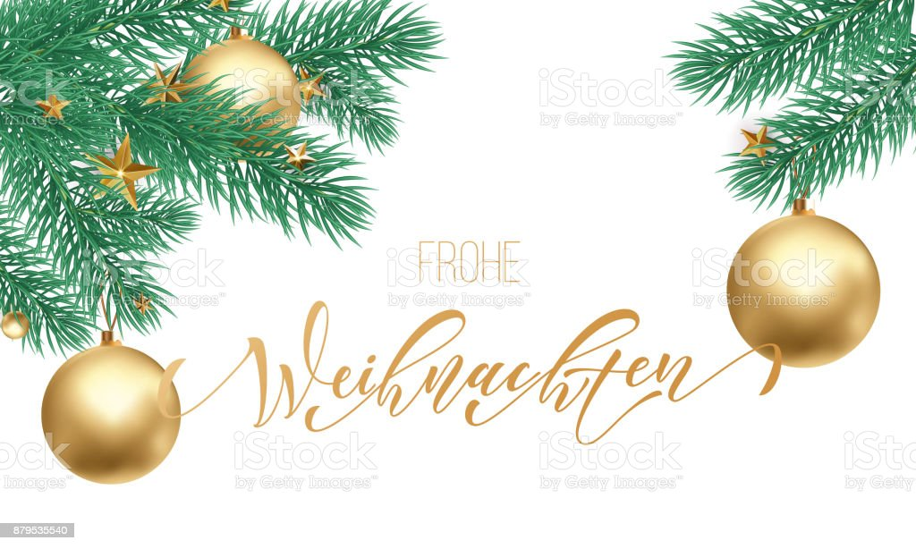Frohe Weihnachten German Merry Christmas holiday golden hand drawn calligraphy text for greeting card of Christmas branch and decoration ornament. Vector winter season goldent font on white background - Векторная графика Pinaceae роялти-фри