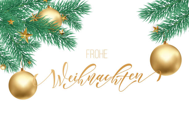 frohe weihnachten german merry christmas holiday golden hand drawn calligraphy text for greeting card of christmas branch and decoration ornament. vector winter season goldent font on white background - weihnachten stock illustrations
