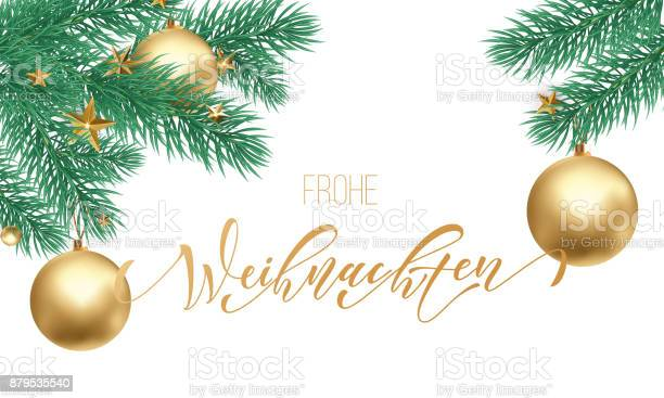 Frohe Weihnachten German Merry Christmas Holiday Golden Hand Drawn Calligraphy Text For Greeting Card Of Christmas Branch And Decoration Ornament Vector Winter Season Goldent Font On White Background — стоковая векторная графика и другие изображения на тему Pinaceae