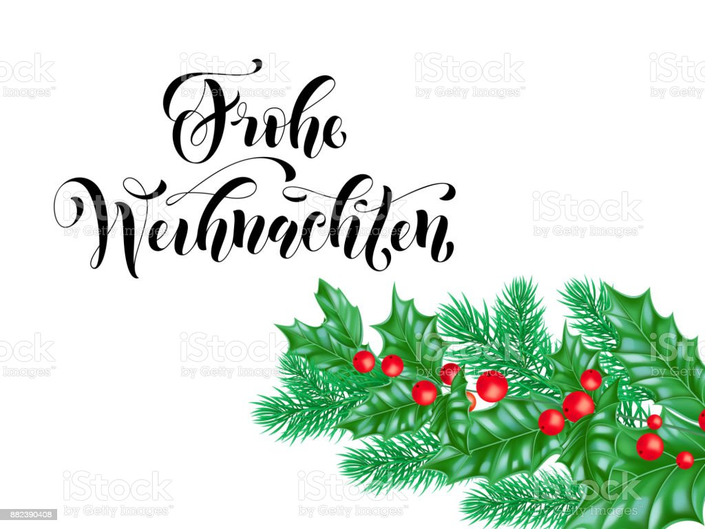 Merry Christmas German.Frohe Weihnachten German Merry Christmas Holiday Hand Drawn