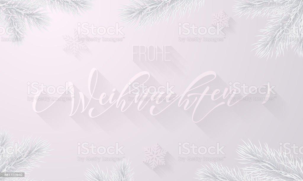 Frohe Weihnachten Almanca neşeli Noel tatil kar tanesi dekorasyon beyaz kar frost arka plan üzerinde. Donmuş buz hat yazı tipi ve buzlu köknar dalı Noel ve yeni yıl tebrik kartı için vektör - Royalty-free Almanca Vector Art