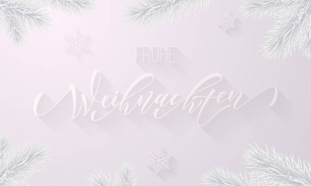 Frohe Weihnachten German Merry Christmas holiday snowflake decoration on white snow frost background. Vector frozen ice calligraphy font and icy fir branch for Christmas or New Year greeting card Frohe Weihnachten German Merry Christmas holiday snowflake decoration on white snow frost background. Vector frozen ice calligraphy font and icy fir branch for Christmas or New Year greeting card weihnachten stock illustrations