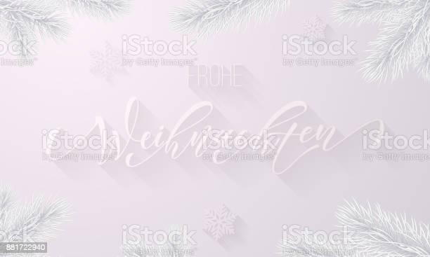 Frohe Weihnachten Almanca Neşeli Noel Tatil Kar Tanesi Dekorasyon Beyaz Kar Frost Arka Plan Üzerinde Donmuş Buz Hat Yazı Tipi Ve Buzlu Köknar Dalı Noel Ve Yeni Yıl Tebrik Kartı Için Vektör Stok Vektör Sanatı & Almanca'nin Daha Fazla Görseli