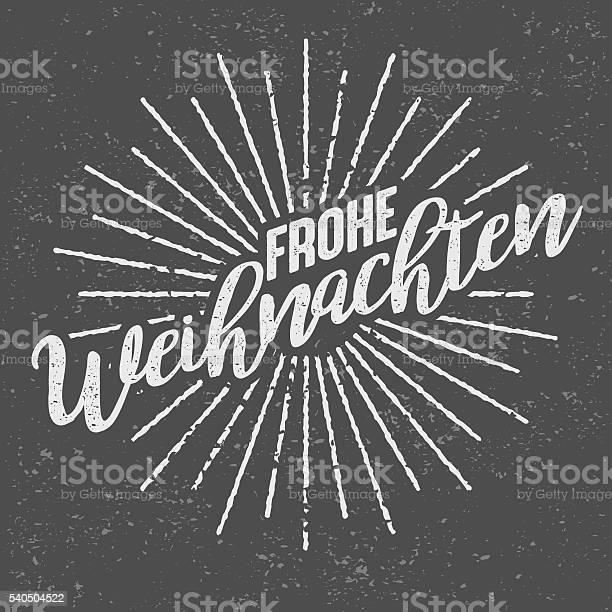 Frohe Weihnachten German Vintage Screen Print Stok Vektör Sanatı & Alman Kültürü'nin Daha Fazla Görseli