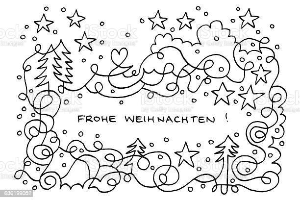 Frohe Weihnachten Happy Winter Wonderland Doodle Drawing Stok Vektör Sanatı & Alman Kültürü'nin Daha Fazla Görseli