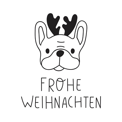 Frohe weihnachten it's Merry Christmas on German. French bulldog with deer horns.