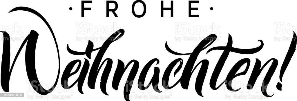 Frohe Weihnachten. Merry Christmas Calligraphy in German. Greeting Card Black - Royalty-free Almanya Vector Art