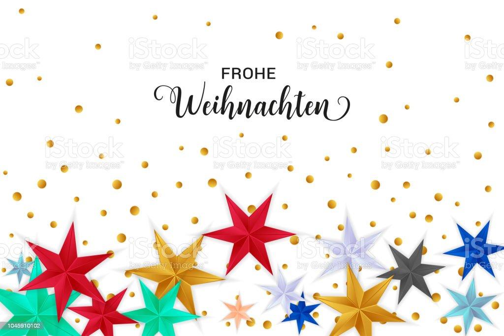 Merry Christmas German.Frohe Weihnachten Merry Christmas German Typography