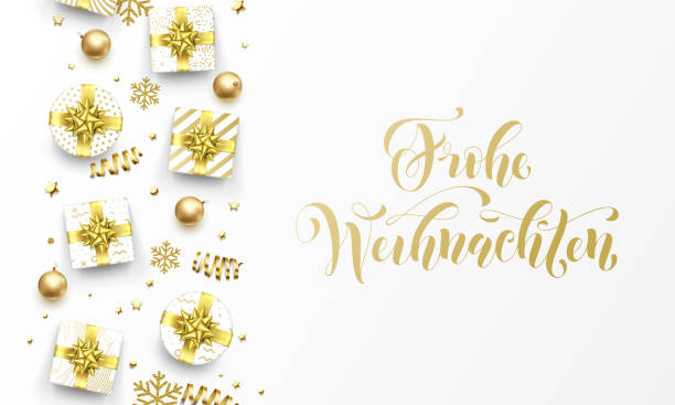 Frohe Weihnachten Merry Christmas golden German greeting card of gold gifts, stars confetti and snowflakes. Vector premium Weihnachten German Christmas calligraphy lettering text on golden background Frohe Weihnachten Merry Christmas golden German greeting card of gold gifts, stars confetti and snowflakes. Vector premium Weihnachten German Christmas calligraphy lettering text on golden background weihnachten stock illustrations