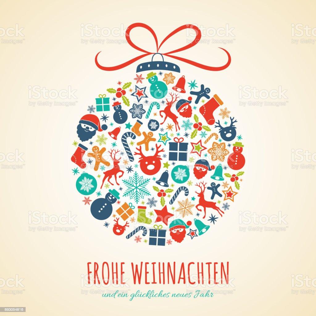 Frohe Weihnachten - Almanca mutlu Noeller. Noel kartı dekorasyonu ile kavramı. Vektör. - Royalty-free Almanca Vector Art
