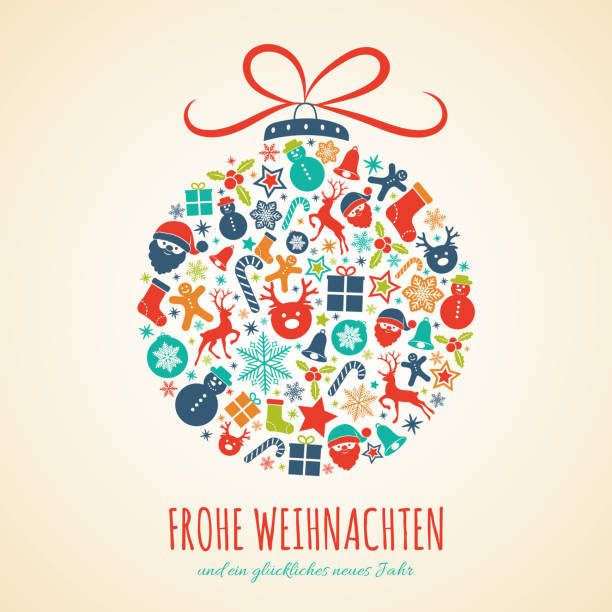 Frohe Weihnachten - Merry Christmas in German. Concept of Christmas card with decoration. Vector. Frohe Weihnachten - Merry Christmas in German. Concept of Christmas card with decoration. Vector. weihnachten stock illustrations
