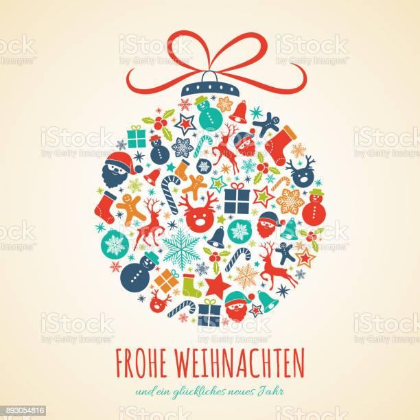 Frohe Weihnachten Almanca Mutlu Noeller Noel Kartı Dekorasyonu Ile Kavramı Vektör Stok Vektör Sanatı & Almanca'nin Daha Fazla Görseli