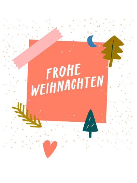 Frohe Weihnachten. Merry Christmas! Modern x-mas greeting card, Christmas card, web banner. Trendy vector design for social media marketing or quirky stationery. Pretty art poster, unique arty graphic with sticky note hand lettering cute decoration From the contemporary doodle Christmas greetings series. weihnachten stock illustrations