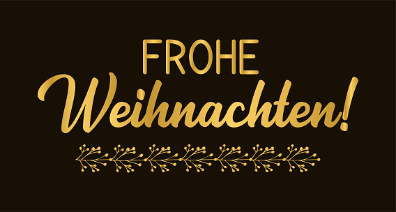 Frohe Weihnachten quote in German as logo or header. Translated Merry Christmas. Celebration Lettering for poster, card, invitation.