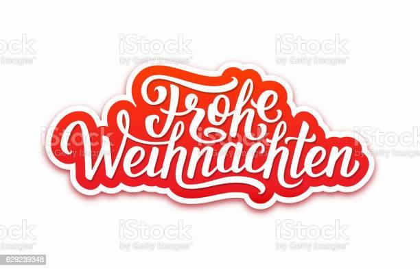 Frohe Weihnachten Text On Label Christmas Card — стоковая векторная графика и другие изображения на тему Баннер - знак