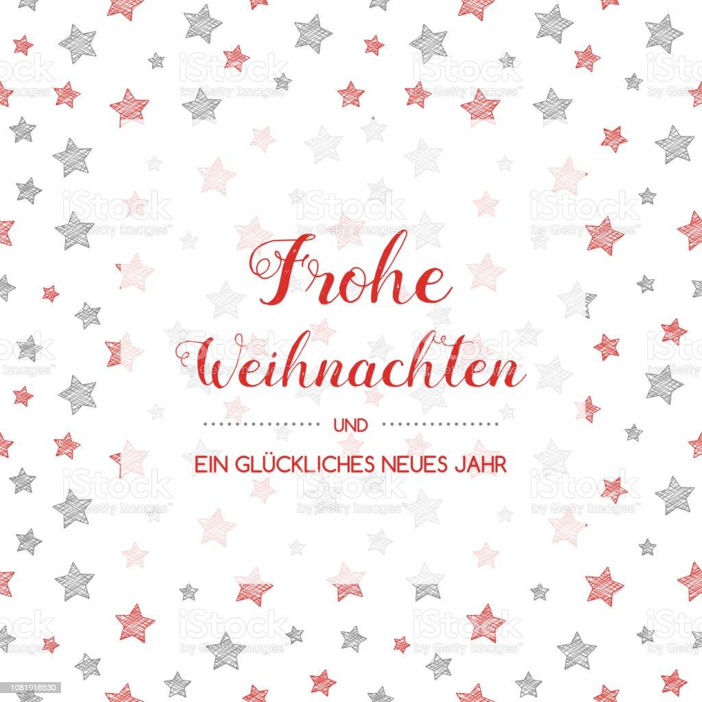 Frohe Weihnachten - Merry Christmas tercüme--dan Alman için. Vektör. - Royalty-free Alman Kültürü Vector Art