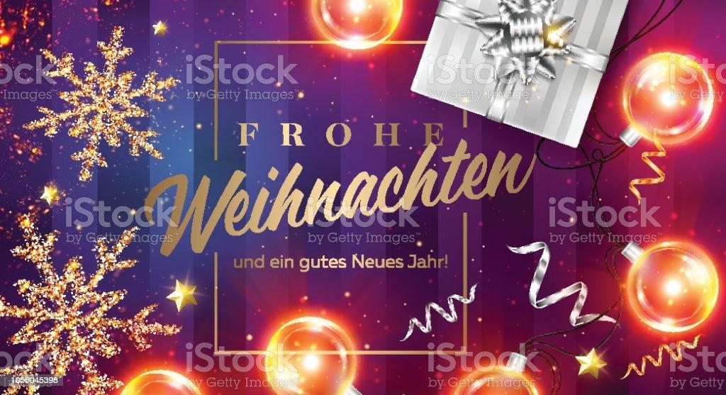 Frohe Weihnachten und ein tasdik neues Jahr vektör kartı neşeli Noel ve mutlu yeni yıl Almanca. Çerçeve, siyah hediye kutusu, şerit, Noel ışıkları, altın ışıltılı Star Xmas Poster şablonu. - Royalty-free 2019 Vector Art