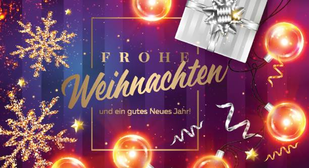 Frohe Weihnachten und ein gutes neues Jahr Vector Card. Merry Christmas and Happy New Year in German. Xmas Poster Template with Frame, Black Gift Box, Ribbon, Christmas Lights, Golden Glittering Star. Frohe Weihnachten und ein gutes neues Jahr Vector Card. Merry Christmas and Happy New Year in German. Xmas Poster Template with Frame, Black Gift Box, Ribbon, Christmas Lights, Golden Glittering Star. weihnachten stock illustrations
