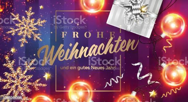Frohe Weihnachten Und Ein Tasdik Neues Jahr Vektör Kartı Neşeli Noel Ve Mutlu Yeni Yıl Almanca Çerçeve Siyah Hediye Kutusu Şerit Noel Işıkları Altın Işıltılı Star Xmas Poster Şablonu Stok Vektör Sanatı & 2019'nin Daha Fazla Görseli