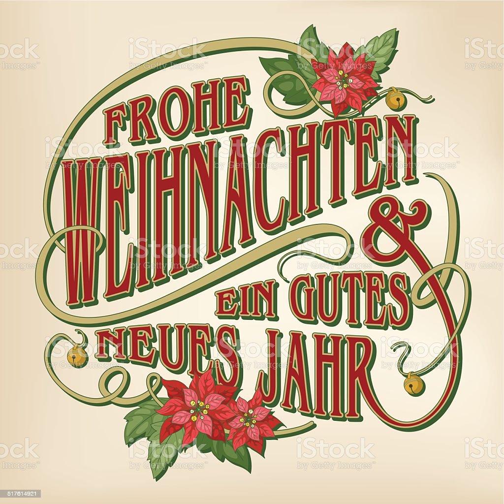 Frohe Weihnachten und Эйн gutes neues Jahr (Рождественская открытка каллиграфия) - Векторная графика Ёлочные игрушки роялти-фри