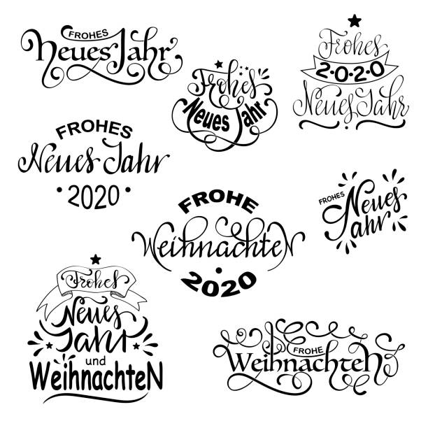 frohe weihnachten und  frohes neues jahr - german merry christmas and happy new year set of calligraphic deutsch inscription - weihnachten stock illustrations