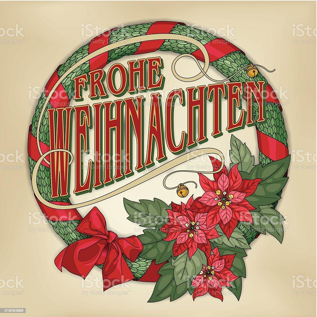 Frohe Weihnachten wreath with red poinsettias (Christmas card calligraphy) - Royalty-free Alman Kültürü Vector Art