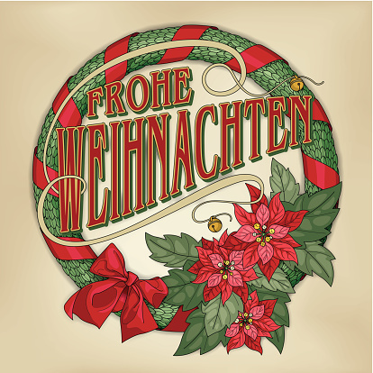 Frohe Weihnachten wreath with red poinsettias (Christmas card calligraphy)