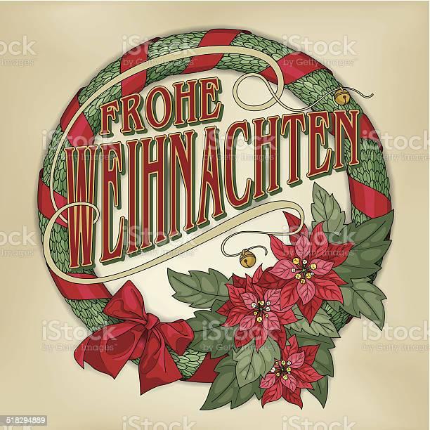 Frohe Weihnachten Wreath With Red Poinsettias Stok Vektör Sanatı & Alman Kültürü'nin Daha Fazla Görseli