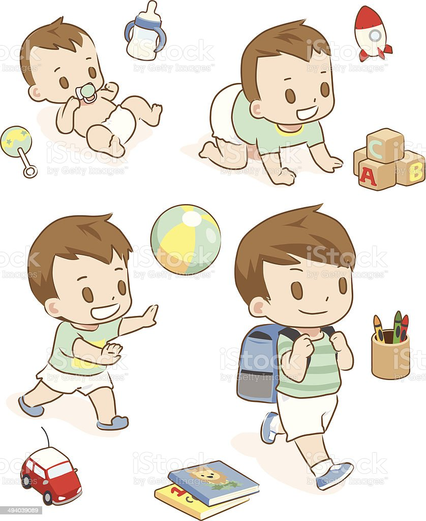 From baby to first day of school vector art illustration