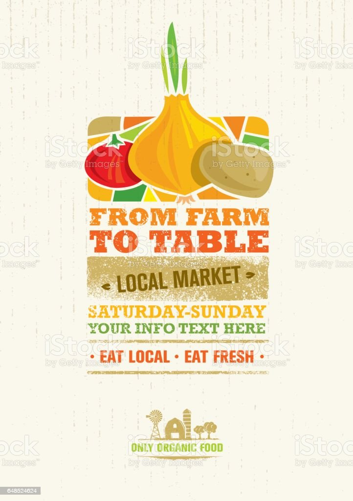 From Farm To Table Fresh Local Food Print Concept. Creative Organic Banner On Grunge Distressed Background vector art illustration