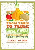 From Farm To Table Fresh Local Food Print Concept. Creative Organic Banner On Grunge Distressed Background.