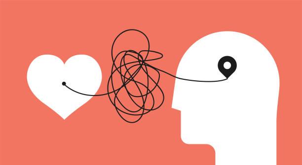 stockillustraties, clipart, cartoons en iconen met van hart tot hoofd. vervormde pad van ziel naar hersenen. psychologie concept over jezelf luisteren voor uw psychologie therapie blog artikel afbeelding of post. minimalistische vector illustratie. - geestelijk welzijn