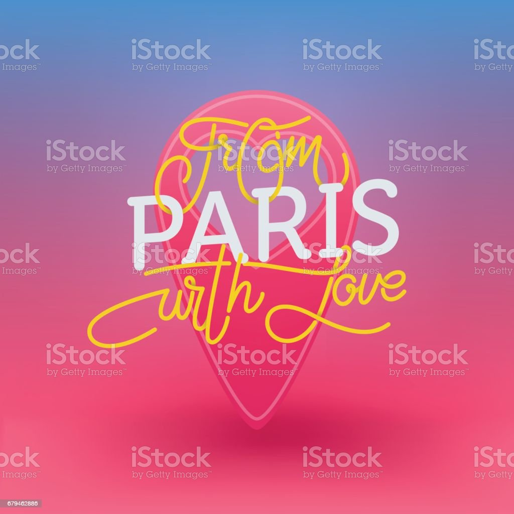 From Paris with love. Lettering illustration for developing city tourism. royalty-free from paris with love lettering illustration for developing city tourism stock vector art & more images of capital